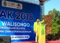 Orasi: Presiden Dema UIN Walisongo Syarifudin Fahmi sedang meyampaikan orasinya dihadapan mahasiswa baru di PBAK 2018 (27/8). (Amanat/Agus)