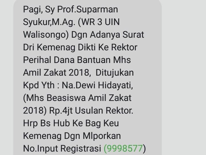 Klarifikasi Wakil Rektor Iii Terkait Pesan Penipuan Beasiswa Amil Zakat Amanat Id