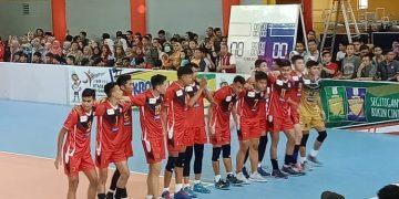 Tim voli putra Indonesia usai mengalahkan tim voli Malaysia diajang ASG 2019 di GSG UIN Walisongo, Senin (20/6/2019) (Amanat/Rima).