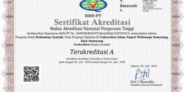 Sertifkat akreditasi program studi D3 Perbankan Syariah UIN Walisongo (Dokumen: Istimewa)