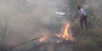 Salah satu satpam sedang berusaha memadamkan kobaran api di jurang jalan penghubung kampus dua dan tiga.