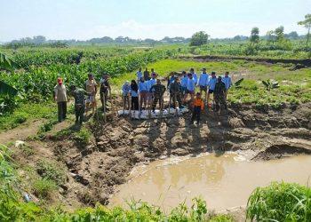 Kegiatan menanggul sungai di desa Dombo, Kec. Sayung, Kab. Demak, Jum'at (17/1/2020) (Dok. istimewa)