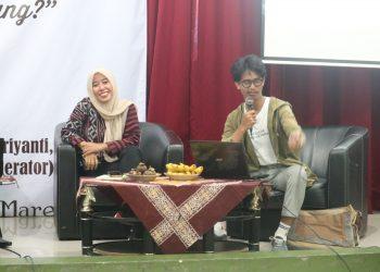 Cornel Gea mengisi talk show tentang omnibus law di Auditorium I Kampus 1 (12/03/2020) (Amanat/Fikri)