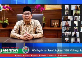 Menteri Desa, Pembangunan Daerah Tertinggal dan Transmigrasi, Halim Iskandar juga memberikan pesan kepada seluruh peserta KKN-DR Reguler ke-75. Selasa (06/10/2020) (Dokumen Istimewa).