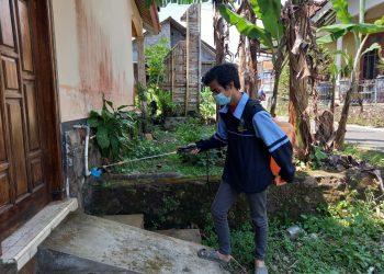 Mahasiswa KKN UIN Walisongo sedang melakukan penyemprotan di salah satu rumah warga Losari, Jumat (06/08/2021)(Doc.Pribadi)